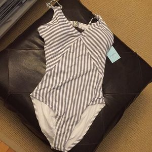 Grey striped cutout Cupshe bathing suit